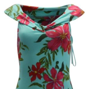 Guess Off Shoulder Cabanna Dress Coastal Bloom Aqu